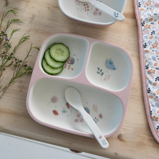 Bambusový dělený talíř Spring Flowers
